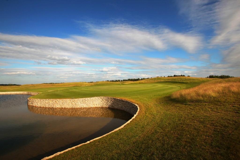 The 18th is set on the side of a man-made lake - a magnet for golf balls