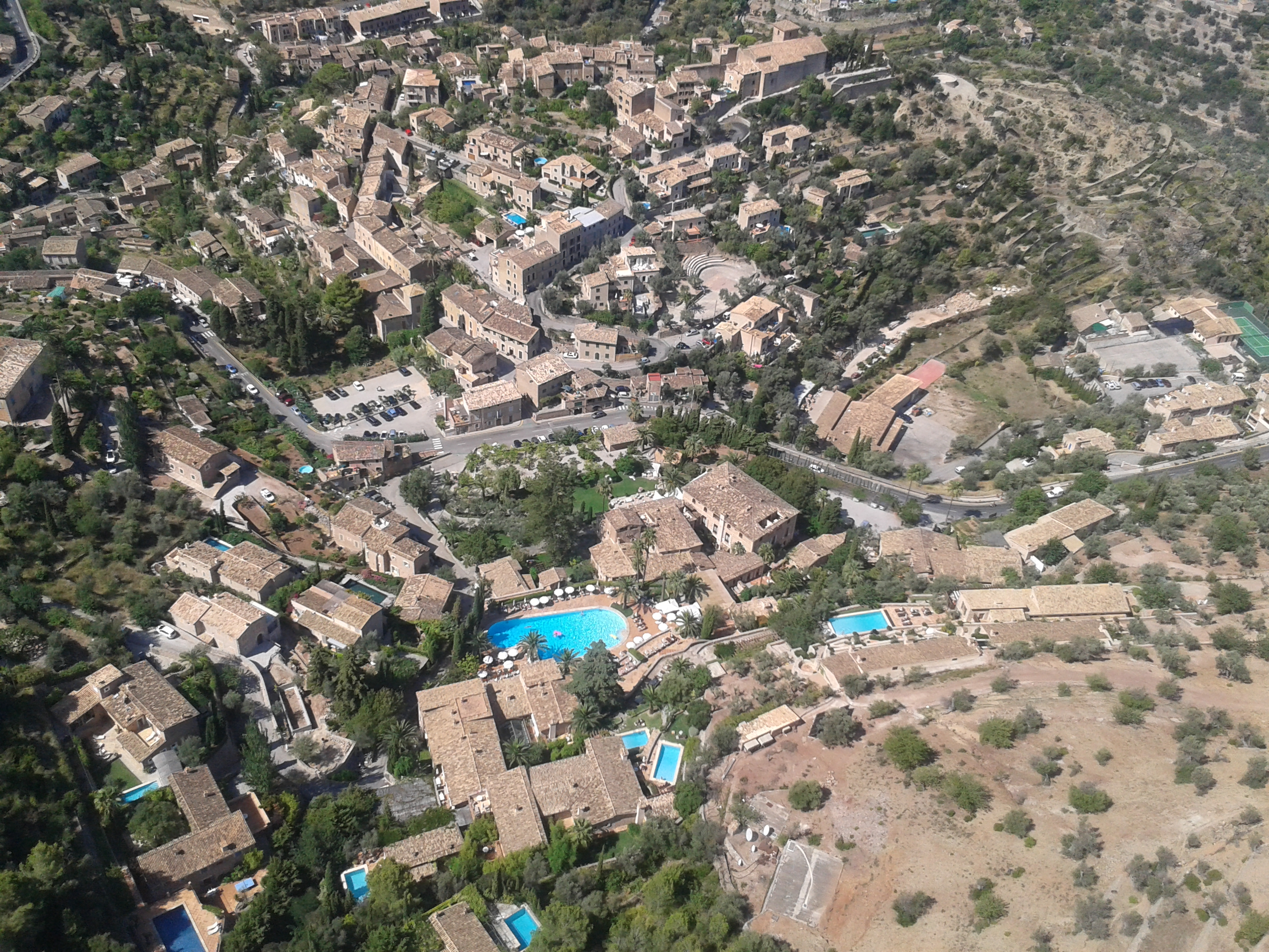 The hilltop town of Deia from the sky