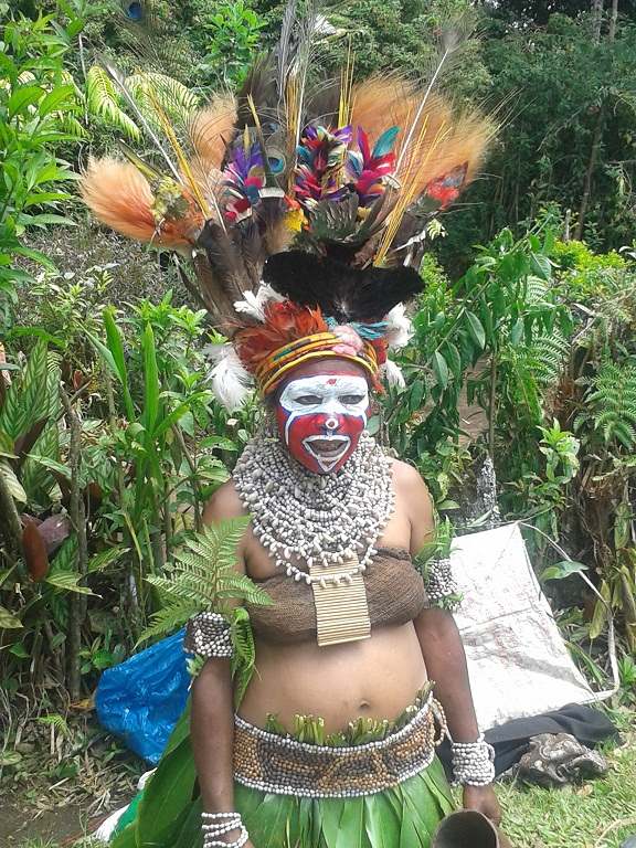 The woman of the village dressed up for our arrival and greeted us with a traditional 'sing sing' chant