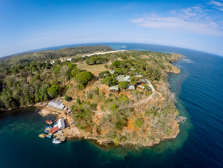 Tufi in all its glory, from the boatyard (bottom left) to the hotel on the top of the cliff and the runway behind - picture taken by drones owned by the guys at PNG Business network who were filming out there