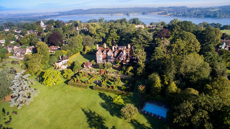 Aerial shot of Hambleton Hall Rutland