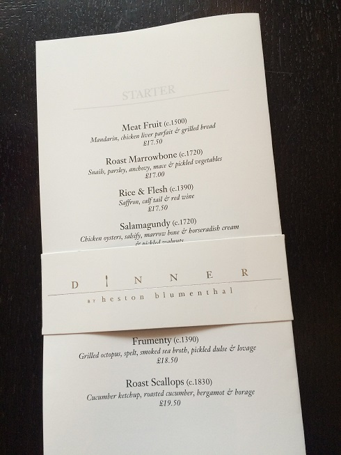Dinner restaurant in Knightsbridge menu