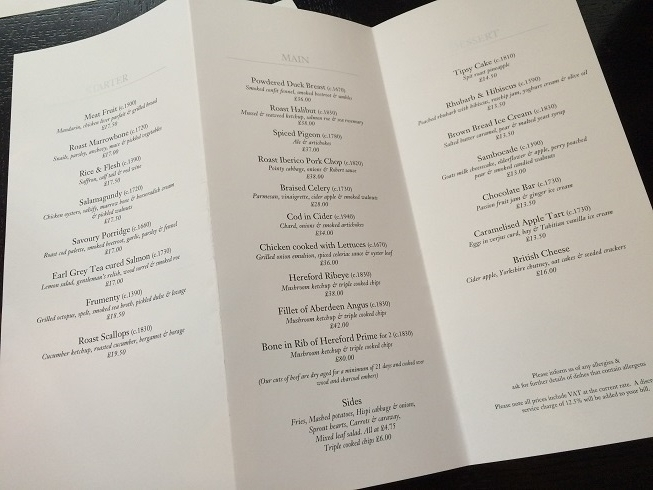 Dinner restaurant in Knightsbridge lunch menu
