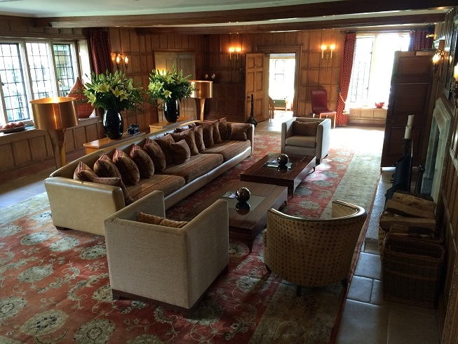 One of the downstairs lounges at Whatley Manor