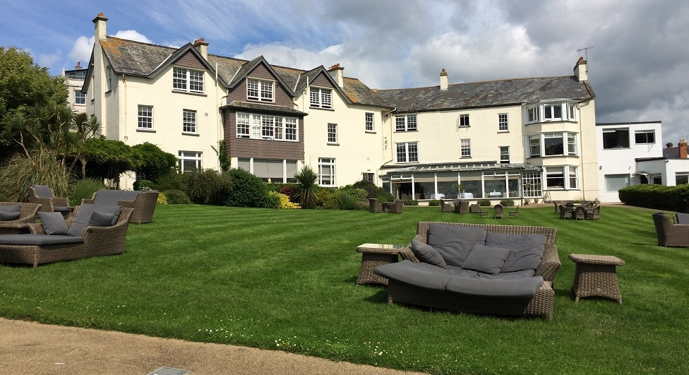 A garden with a view at the Alexandra hotel Lyme Regis