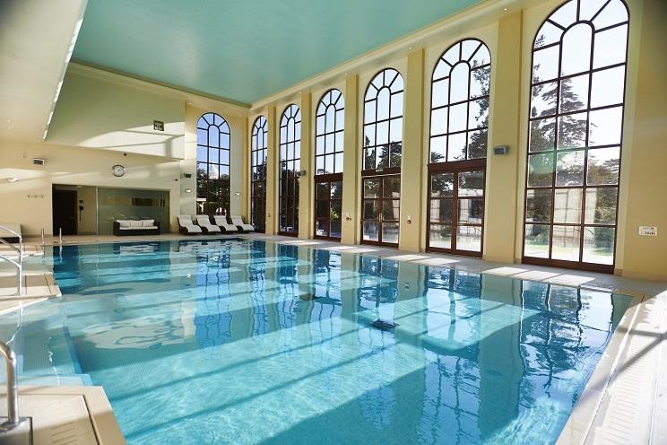 The impressive indoor pool at Stoke Park spa
