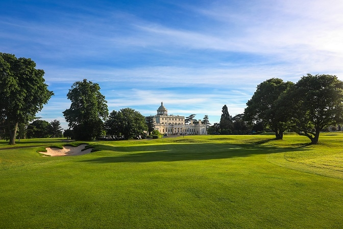 the grounds pictured during a stay at Stoke Park luxury hotel