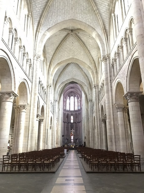 The interior of the cathedral of St Julien in Le Mans
