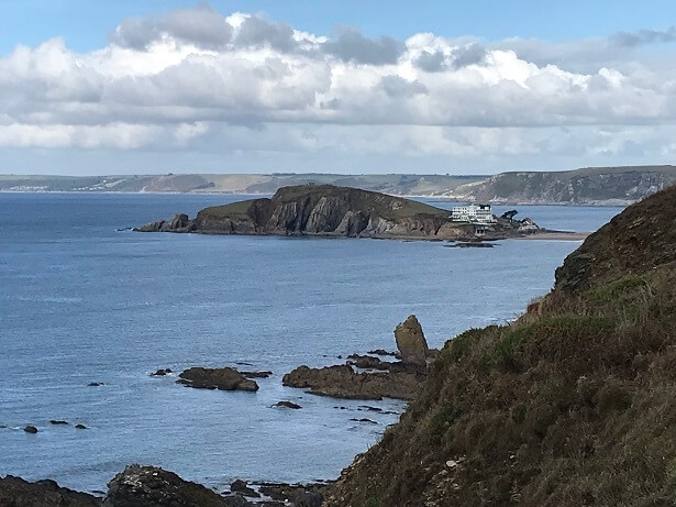 great views of Burgh Island and its famous art deco hotel
