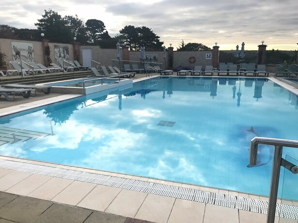 The vast outdoor swimming pool at Thurlestone hotel