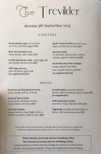 menu Trevilder restaurant