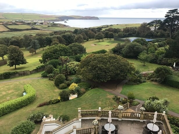 view from my bedroom balcony at Thurlestone hotel