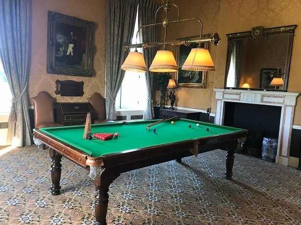 snooker table at Stapleford Park hotel