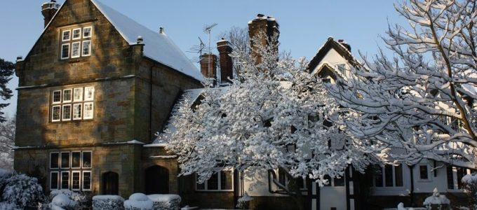 Ockenden Manor in the snow