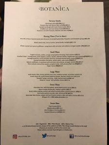 menu at Botanica restaurant South Lodge