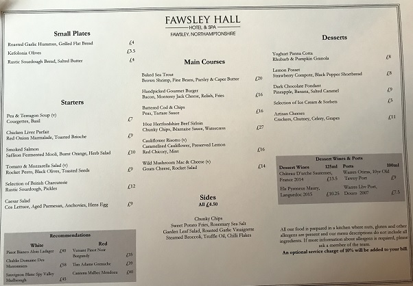 Fawsley Hall menu