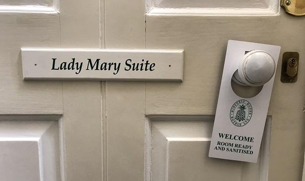UK hotels after lockdown room sanitised sign