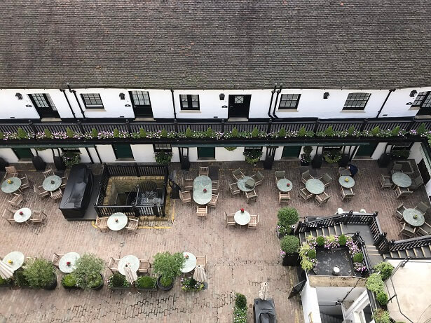 The view of the Carriage Suites and courtyard from the Penthouse terrace