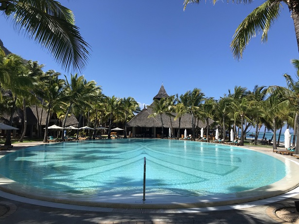 swimming pool at Paradis Beachcomber hotel on Le Morne