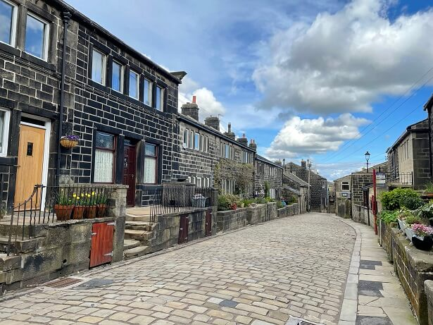 The cobbled streets of the nearby village of Heptonstall