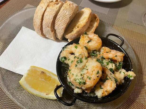 My starter of pan-fried Tiger prawns with garlic and parsley