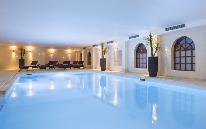 The 13-metre indoor swimming pool at Brandshatch hotel and spa, Kent